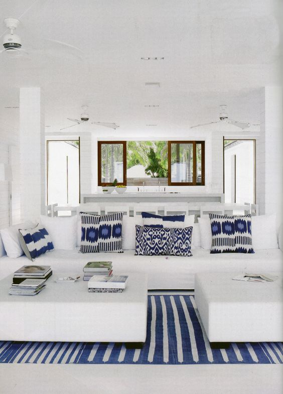 Blue and White Beach House