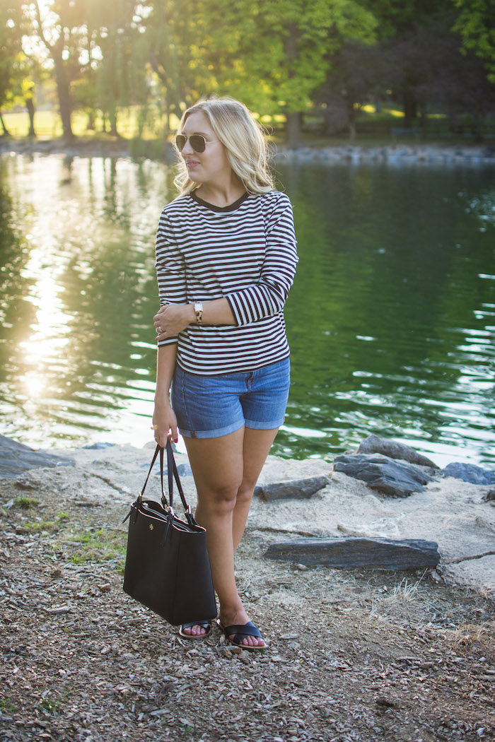 Topshop Striped Long Sleeve Tee