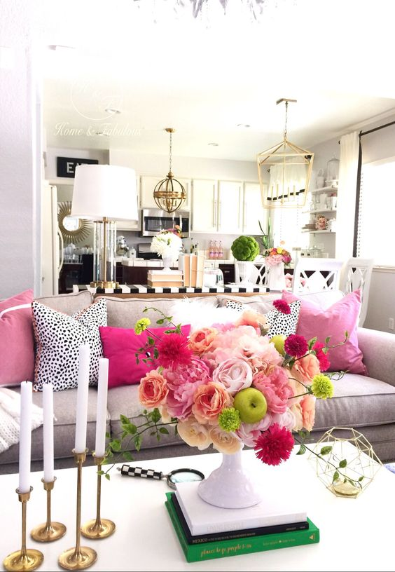 pink-flowers-on-coffee-table