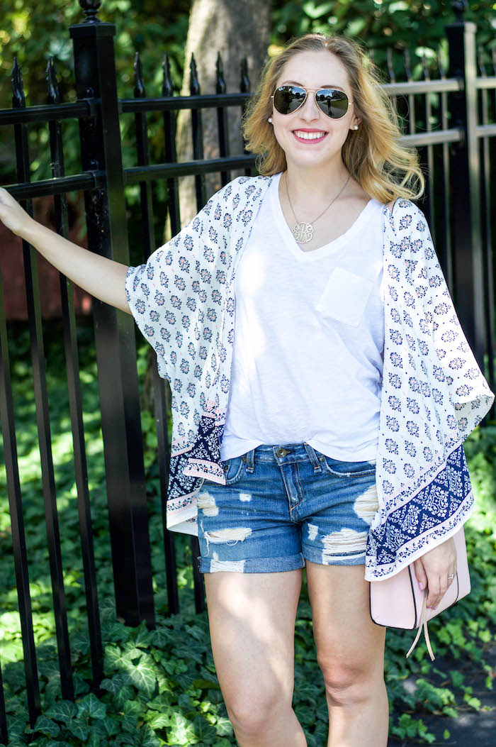 c3c2103a0b Kimono and Distressed Denim Shorts ...