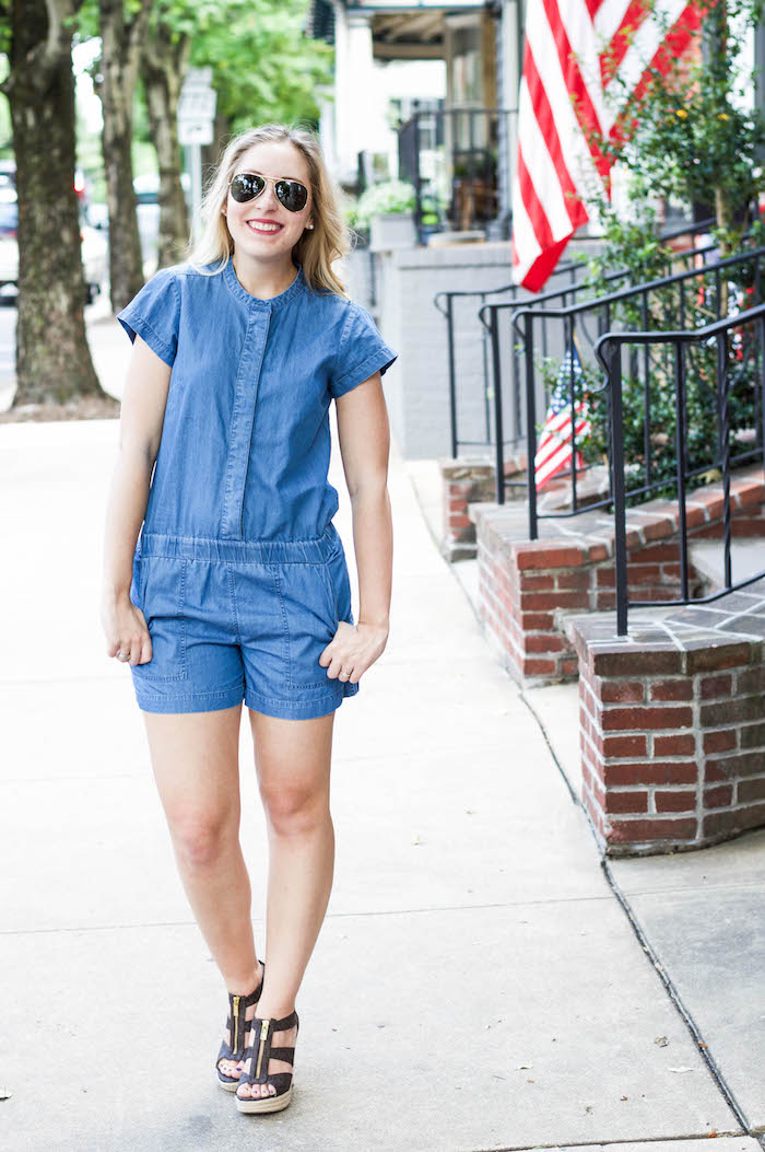J.Crew Factory Chambray Romper