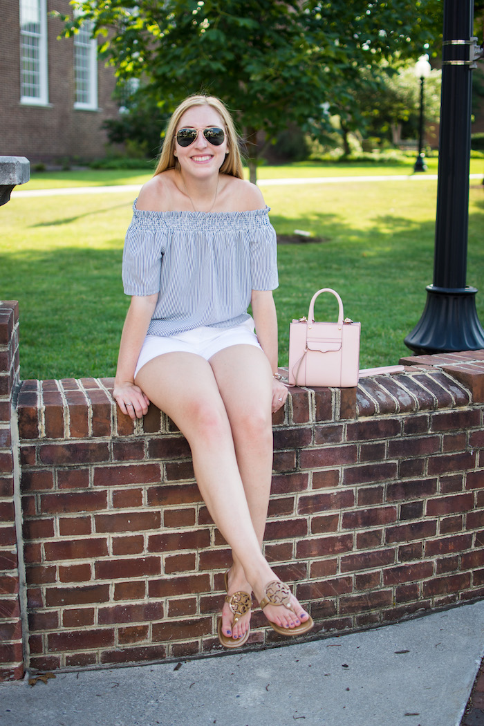 Blue Striped Capri Off the Shoulder Top