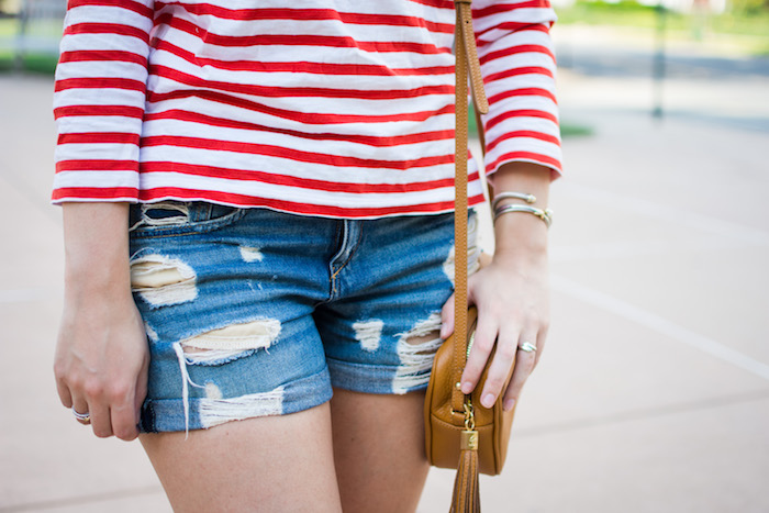 J.Crew Boatneck Tee and Rag & Bone Shorts