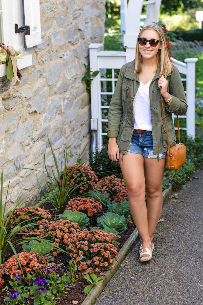 Army Green Jacket and Denim Shorts
