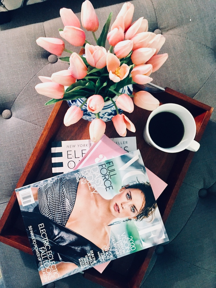 Coffee Table Tray with Vogue Magazine