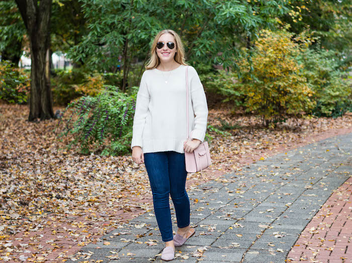 Fall Outfit with Blush Pink Mules