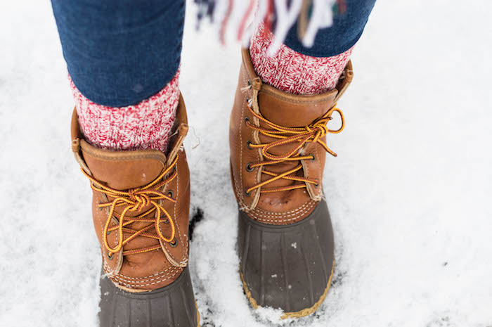 L.L.Bean Boots with Red Camp Socks