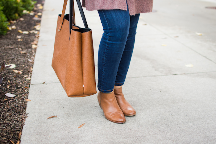 Madewell Cardigan and Street Level reversible tote