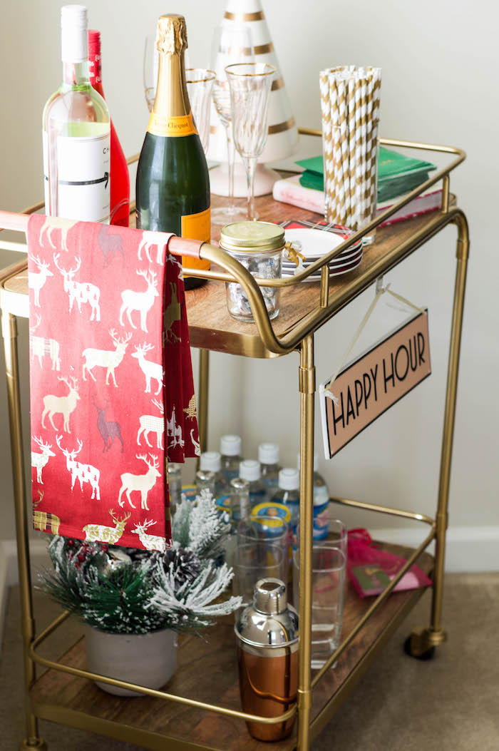 How to Decorate Your Bar Cart for the Holidays   A Pop of Pink